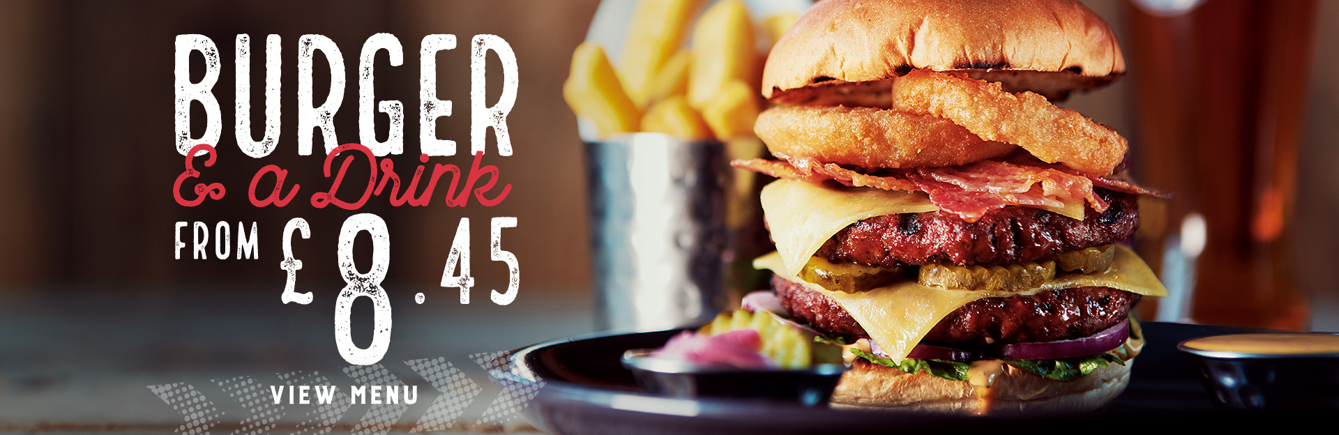 Burger and drink offer